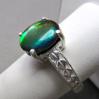 Ammolite Ring Sterling Silver Size 9 Color Shift Stone