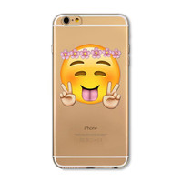 Apple iPhone 6 Plus 6s Plus Funny Emoji Clear TPU Silicon Back Cover Case