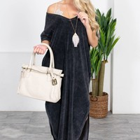 Velvet Charcoal Pocket Mid Dress