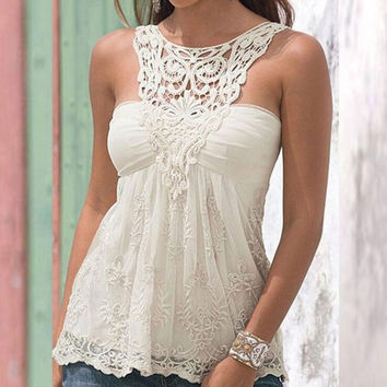 Halter Neck lace Stitching Shirt Blouse Tops