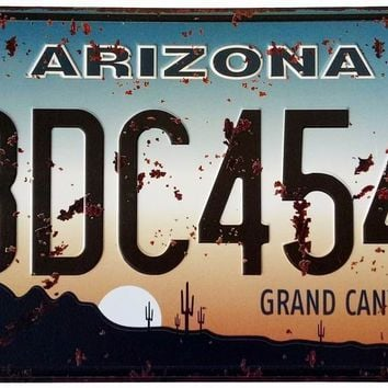 ERLOOD Arizona BDC4544 Retro Vintage Auto License Plate Tin Sign Embossed Tag Size 6 X 12
