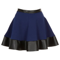 Blue Contrast Hem Skater Skirt - Skirts  - Clothing