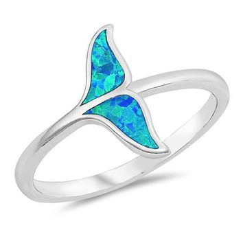 Blue Fire Opal Whale Tail Ring