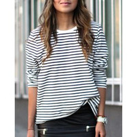 Casual Jewel Neck Long Sleeve Striped Loose-Fitting Sweatshirt For Women
