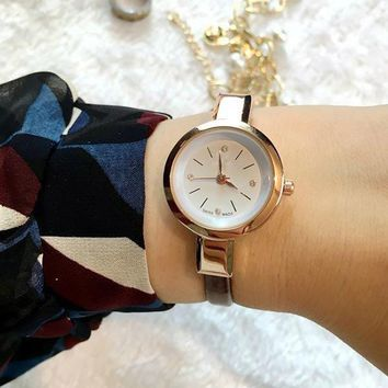 Crystal Lady Watch Small Simple Round Dial Clock Zircon Thin Leather Strap Quartz Watch Wristwatches for Women Ladies Girl LL@17