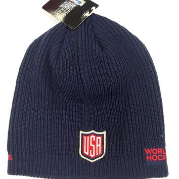 Team U.S.A. 2016 World Cup Of Hockey Locker Room Beanie Hat By Adidas