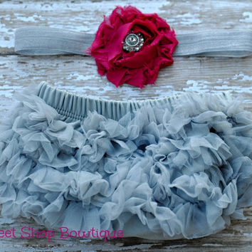 Baby Bloomers and Headband Set - Gray and Fuschia - Great Photo Prop