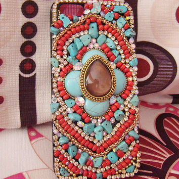 Bohemian Folk iPhone 4 Case Red Beads Turquoise Brown Gem Design iPhone Case iPhone 5 Case iPhone 4s Case Phone Cover