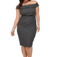 Torrid Plus Size Retro Chic By Torrid - Grey Off-Shoulder Belted Sheath Dress