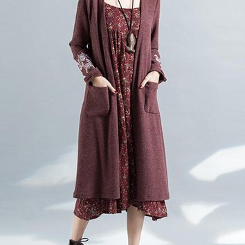 Women Vintage Embroidered Long Sleeve Pocket Knitted Cardigans