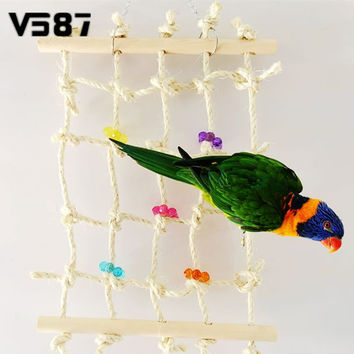 Parrot Climbing Net Toy Nature Rope Swing Stand Netting Ladder For Bird Colorful Bead Chewing Toys Pet Supplies 30X38cm