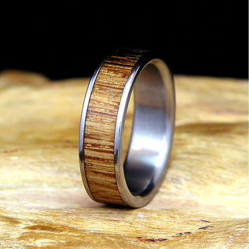 Jack Daniels Wood Titanium Wedding Band or Ring from Authentic Aged Barrel Wood