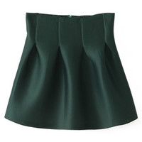 ROMWE | ROMWE Pleated Slim Green Skirt, The Latest Street Fashion