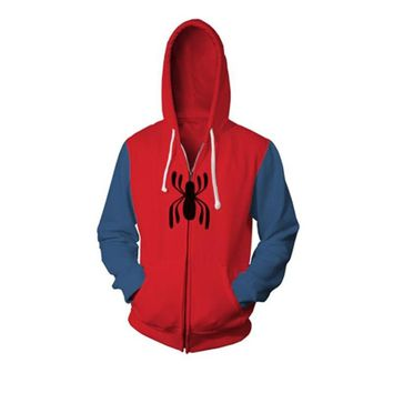 Captain America spider-man Iron man flash 3D Print Sweatshirts Hoodies Fashion Cosplay Zipper hooded Jacket clothing