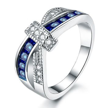 White Gold Plated Cross Blue Engagement Ring