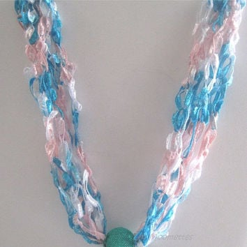 ON SALE Summer Beach Necklace Crochet Necklace Trellis Ribbon Ladder Yarn Aqua Jewelry Graduation Gift