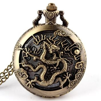 Retro Chinese 12 Zodiac Dragon Quartz Pocket Watch Necklace Pendant Chain Fashion Watch Men Women Gifts Relogio De Bolso