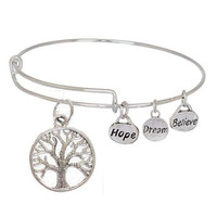 Expandable Bangle Bracelet Tree Charm Hope Dream Believe (metal charms)