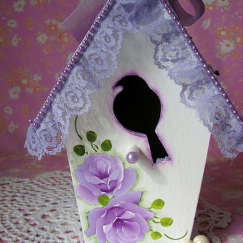 Victorian Birdhouse Hand Painted Lilac Roses Pearls Trim Purple Lace Lavender Shabby chic