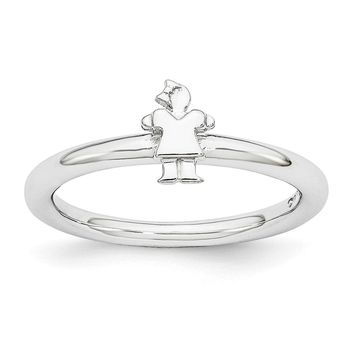 Rhodium Plated Sterling Silver Stackable 7mm Polished Girl Ring