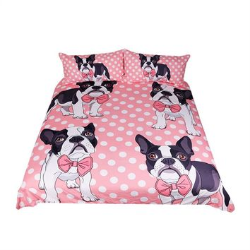 Pug Bow-tie Pink Bedding Set (Super Soft Duvet Cover with Pillowcases)