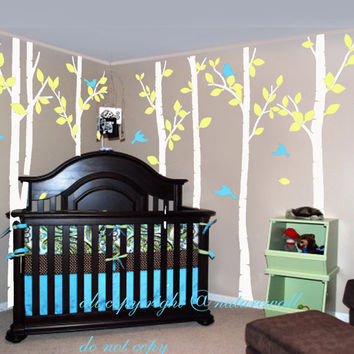 White Birch Tree Decals Kids Wall Baby Decal Nursery Room Decor