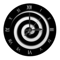 Roman Numeral Black Spiral Hypno Wall Clock from Zazzle.com