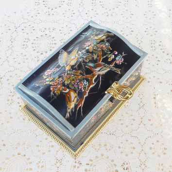 Linette Vintage Candy Tin Chest with Litho Birds, Shabby Chic, Cottage Style, Home Decor, Collectible