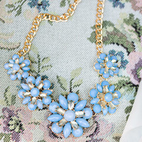 Hillary Blue Floral Statement Necklace