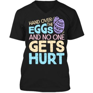 Hand Over The Eggs and No One Gets Hurt Easter T shirt Boys1 Mens Printed V-Neck T