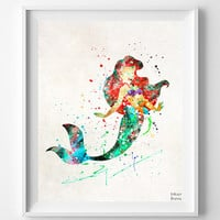 Ariel Print, Wall Art, Watercolor, Disney, Disney Princess, Princess, The Little Mermaid, Painting, Poster, Decor, Fathers Day Gift