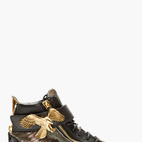 Giuseppe Zanotti Black Calf-hair Eagle High-top Sneakers