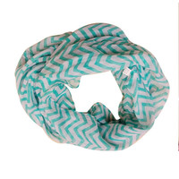 Fashion Women Infinity Chevron Zig Zag Color Block Double Loop Sheer Scarf Wrap Shawl Accessories