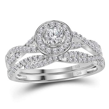 14kt White Gold Womens Round Diamond Twist Bridal Wedding Engagement Ring Band Set 1/2 Cttw - FREE Shipping (US/CAN)