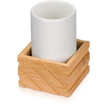 MV Ceramic With Bamboo Bathroom Holder Standing Toothbrush Toothpaste Tumbler