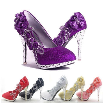 Women Glitter Crystal Flower Wedding Bridal Evening Party High Heel Court Shoes = 1932994180