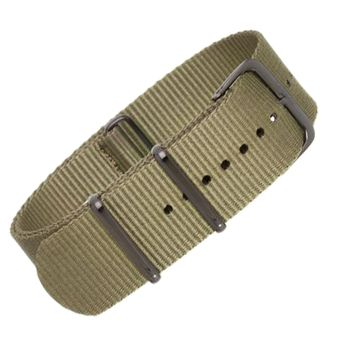 22mm Green Nylon NATO - Black Buckle