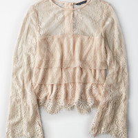AE Mixed Media Tiered Lace Top, Blush