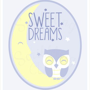 Nursery Wall Art Boy Sweet Dreams Moon and Owl 2