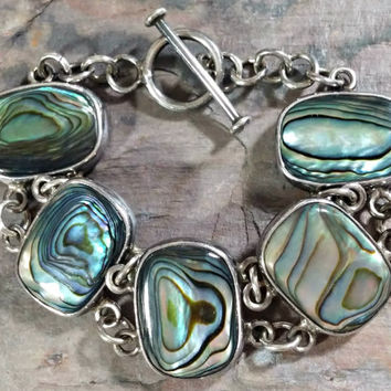 925 Sterling Silver Abalone Bracelet Five Large Pieces of Abalone Shell Paua Chain Link Style With Toggle Clasp Rich Colors Nice!
