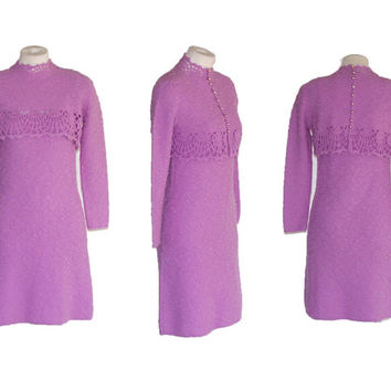 60s to 70s Dress ST. JOHN KNITS Vintage Lavender Dress and Jacket Free Domestic and Discounted International Shipping
