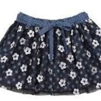 NEW PAPER WINGS FLORAL TULLE SKIRT EMBROIDERED FLOWERS, INDIGO\BLACK\CREAM SIZE 2