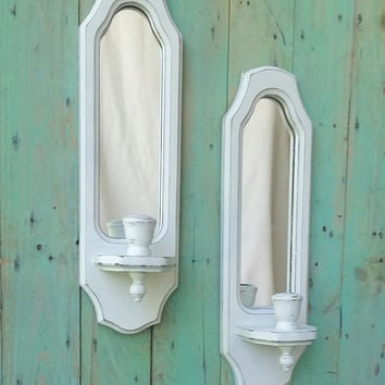 Large Shabby Chic Rustic Wooden Candle Holders Wall Sconces Painted Antique White Distressed