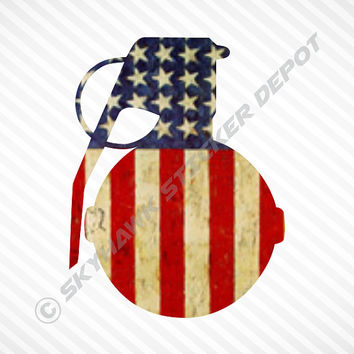 American Flag Grenade Sticker Vinyl Decal Bumper Sticker Car Truck SUV Sticker Macbook Sticker Molon Labe  JDM Sticker United States Flag