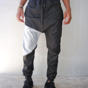 Black Denim Drop Crotch Harem Pants  / Lightweight / Mens Joggers / Mens Harem Pants / Three Pockets / Handmade by GAG THREADS