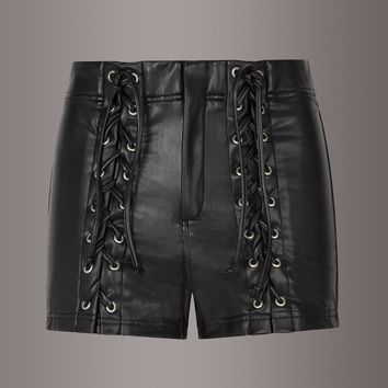 Hellraiser Black Faux Leather Lace Up Shorts