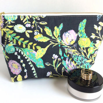 Large Cosmetic Bag,Large Makeup Bag,Large Zipper Pouch,Floral Makeup Bag,Large Pencil Pouch,Floral Zipper Pouch,Large Planner Pouch