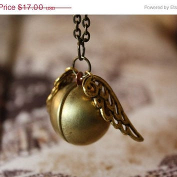 ON SALE Harry Potter Golden Snitch Locket Necklace - Fancy Gold Wings