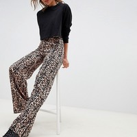 Miss Selfridge wide leg pants in leopard print at asos.com