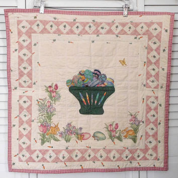 Quilt Wall Hanging Wall Art Quilt Easter Basket Beaded Applique Sleeve on Back Handmade Quilting Picture Wall Hanging Spring Decor